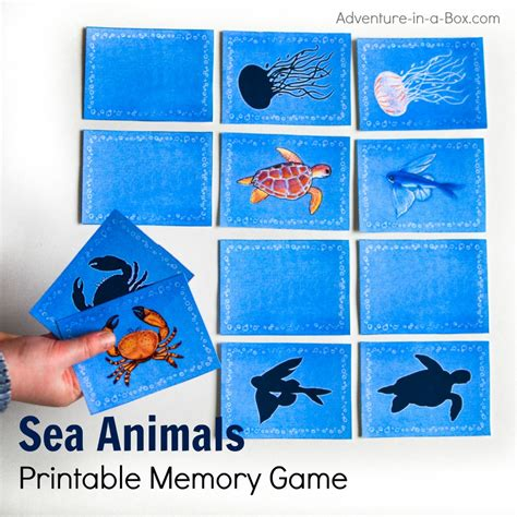 printable animal memory game cards sea animals printable memory matching game for kids