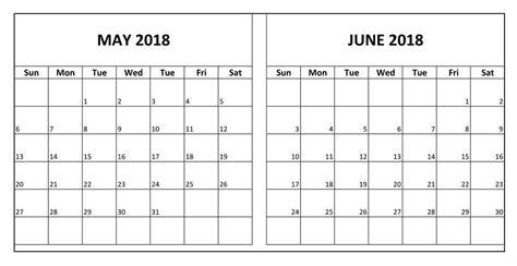 May And June Calendar Template