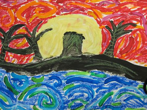 warm and cool color beach landscape paintings 3rd grade