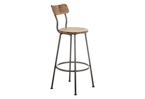 tabouret de bar avec dossier industriel en bois et métal