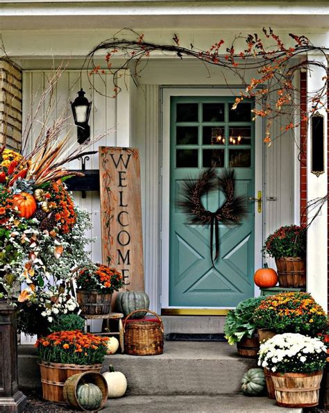 Autumn Front Door Decorations 30 Cozy Thanksgiving Front Door D 233 Cor Ideas Digsdigs