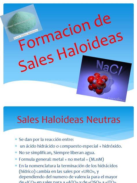 sales haloideas formacion de sales haloideas