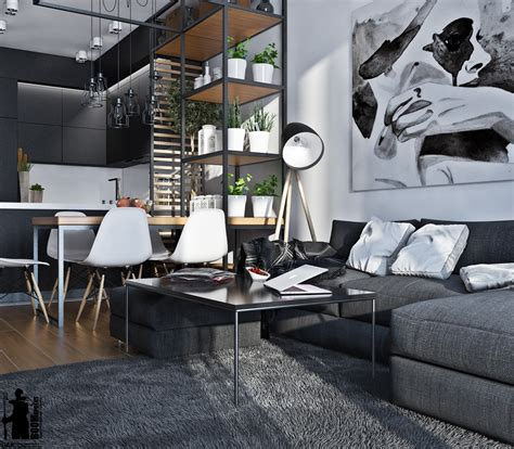 this black and white interior vision is a striking loft in artistic apartments with monochromatic color schemes