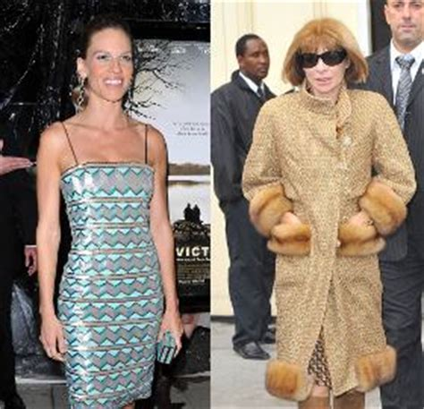 Who Wore Chanel Couture Better Wintour Or by Chanel Couture Hilary Swank Zigzag Dress At Conviction