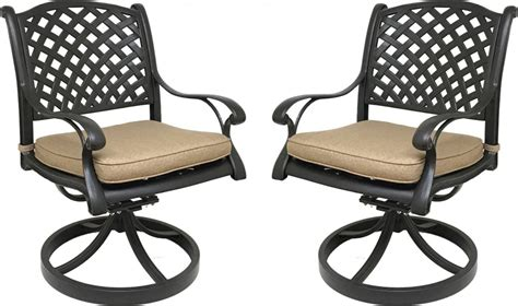 Nevada Cast Aluminum Outdoor Swivel Rocker Chairs With Outdoor Swivel Chairs With Cushions