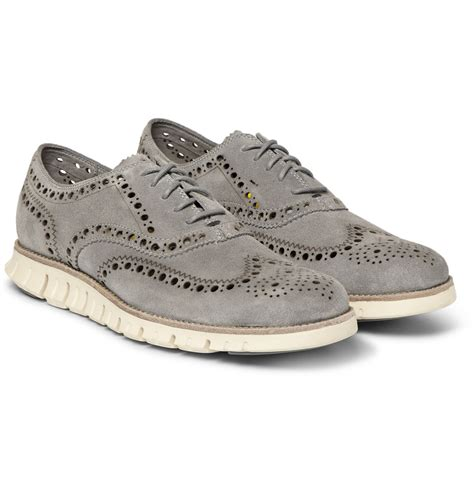 wing shoes oxford lyst cole haan zerogrand wing suede oxford shoes in gray