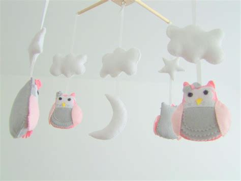 Handmade Mobiles For Nursery - personalized handmade baby crib mobile felt owl pink