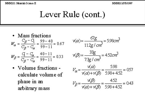lever arm rule phase diagrams lever rule cont