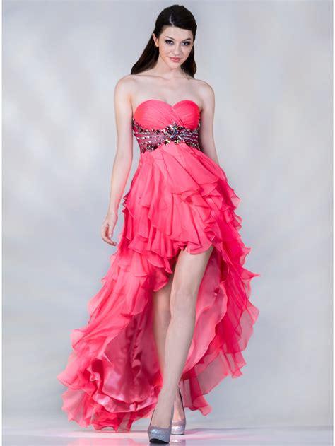 Pink High Low Prom Dress   Dresscab
