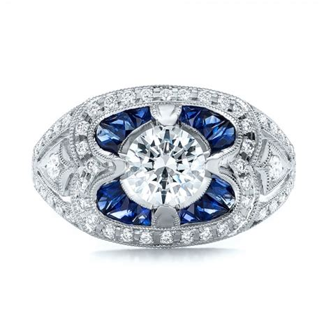 art deco diamond and blue sapphire engagement ring 101985