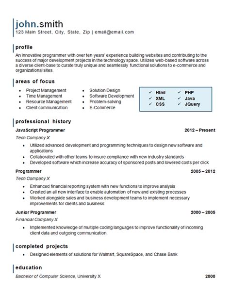 computer programming resume exle website software