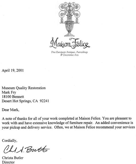 Recommendation Letter Quality Of Service Testimonials Museum Quality Restoration Services