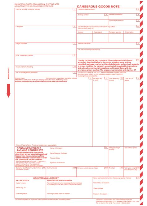 standard shipping note template dangerous goods notes and dangerous goods declarations