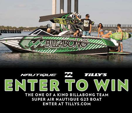Billabong Nautique Sweepstakes - win custom billabong team g23 super air nautique boat arv 149 000 granny s giveaways