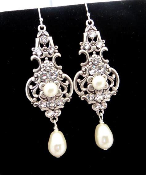 Vintage Style Bridal Pearl Earrings Pearl Earrings Wedding by Bridal Earrings Vintage Style Earrings Wedding Jewelry