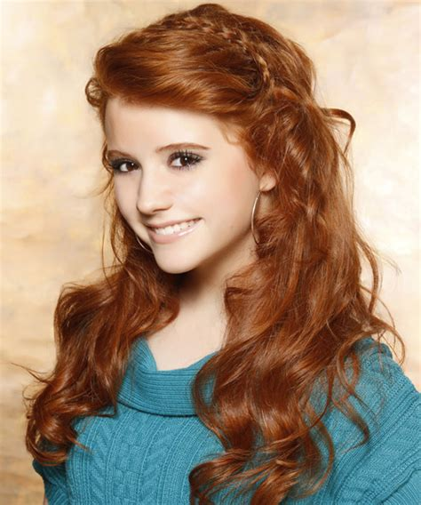 long wavy casual hairstyle medium red ginger