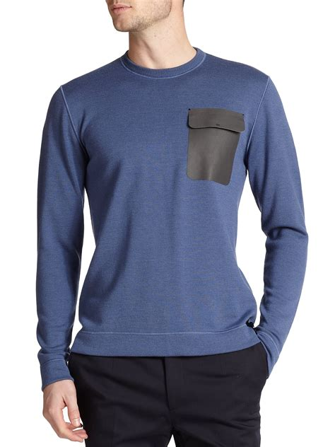 Sweater Fendi Fendi Leather Pocket Sweater In Blue For Lyst