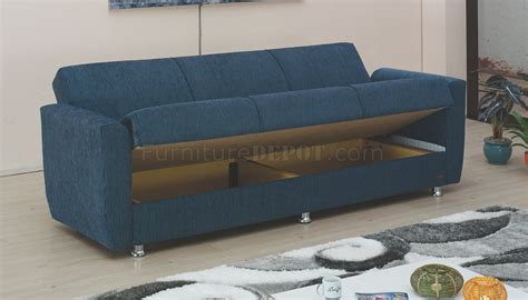 miami sofa bed convertible in blue fabric by empire