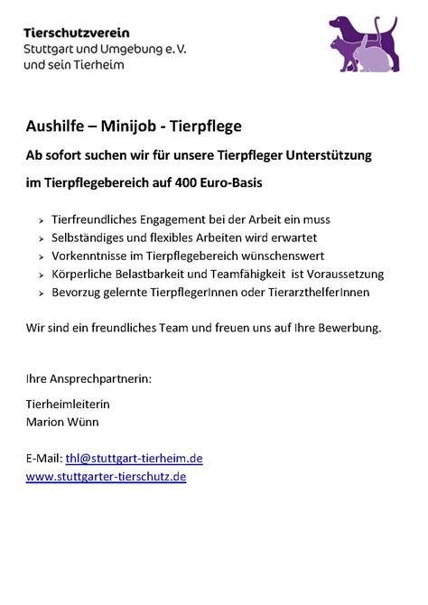Praktikum Bewerbung Tierheim Tierschutzverein Stuttgart Und Sein Tierheim