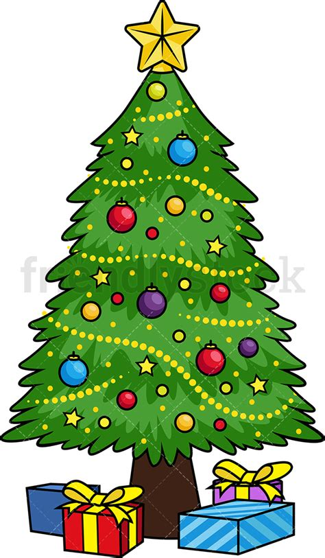 cartoon christmas tree december decorated tree vector clipart friendlystock