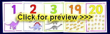 printable numbers 1 20 display numbers on dinosaurs posters flash cards printables