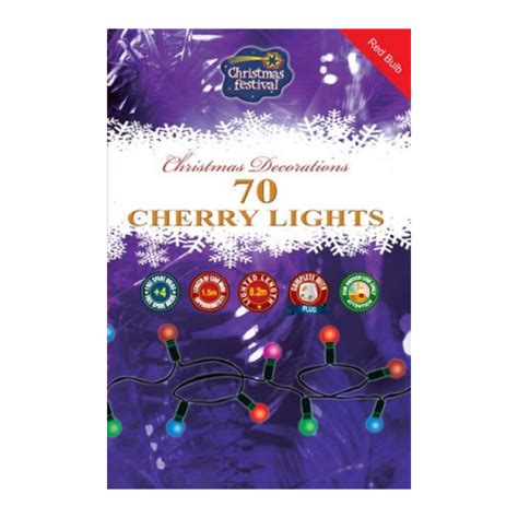 premier cherry christmas lights 70 bulb red or clear