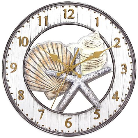 bed bath beyond clocks shell wall clock in grey bed bath beyond