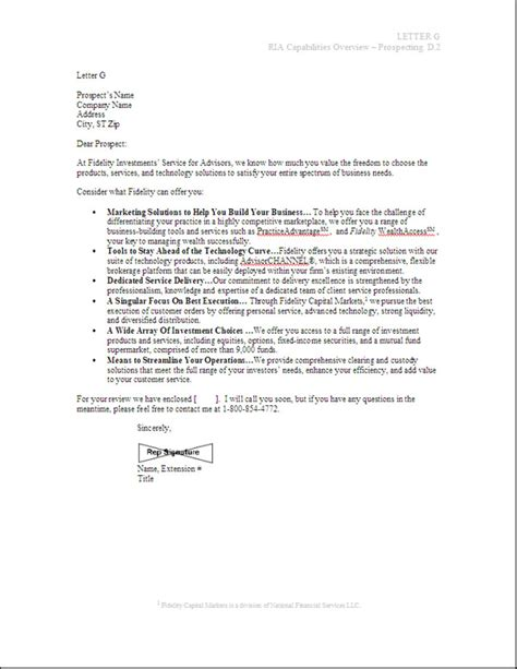 Sle Letter Of Billing by Standardized Sales Letter For Fidelity Investments Bill Eidson