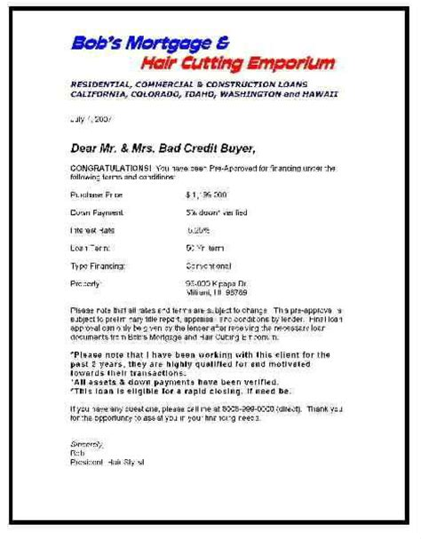 Loan Approval Letter Word Format Screening Pre Approval Letters From The Lenders