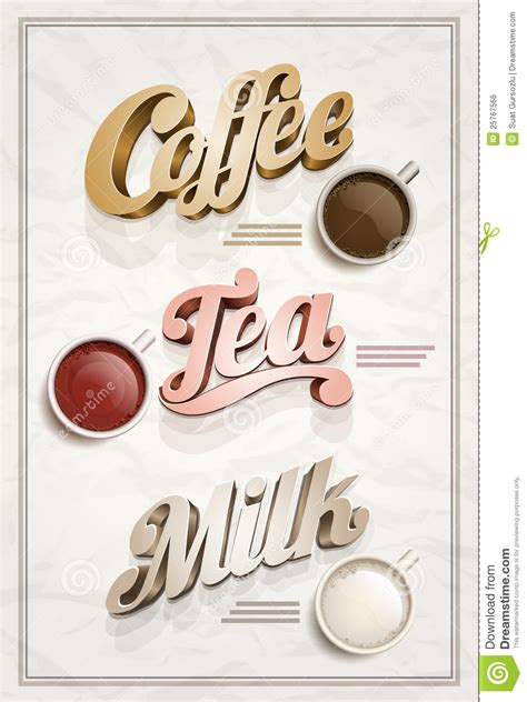coffee milk design tutorial coffee tea and milk poster stock vector illustration