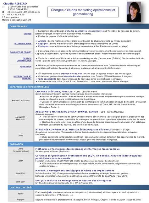 Modèle Cv Franàçais by Exle Resume Exemple Cv Anglais Tourisme