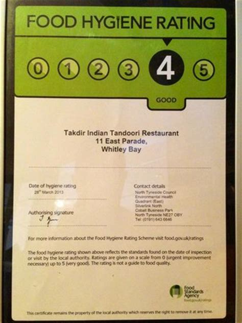 food hygiene rating certificate for 2013 picture of takdir whitley bay tripadvisor