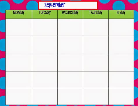 Monday Through Friday Calendar Template Preschool Pinterest Daycare Forms And School Free Monday Through Friday Calendar Template