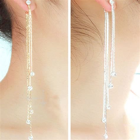 Tassel Earrings Fashion Jewelry Anting Panjang Yxe758 new fashion 5 chain gold silver tassel earrings for