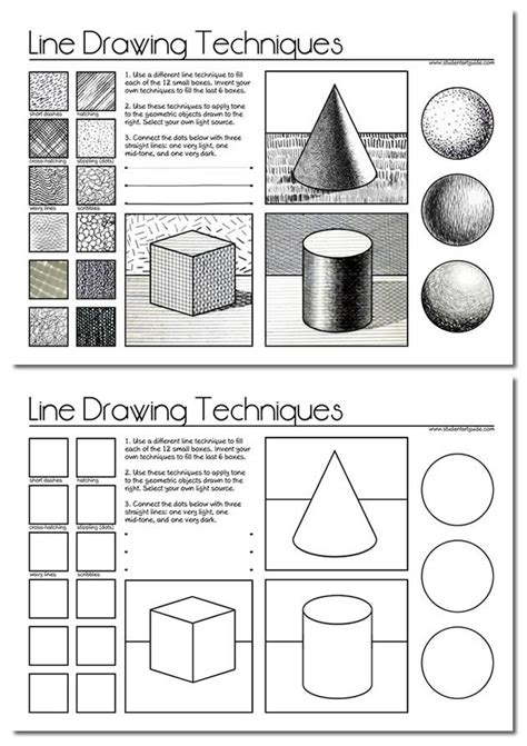 line art shading tutorial free art teacher resources worksheets drawings and students