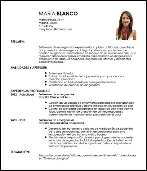 Modelo Curriculum Vitae De Enfermeria Modelo Cv Enfermera De Emergencias Livecareer