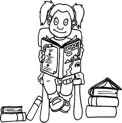 coloring page girl reading girl color page coloring pages for kids family people