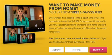 free 5 day course how i make a time income from home