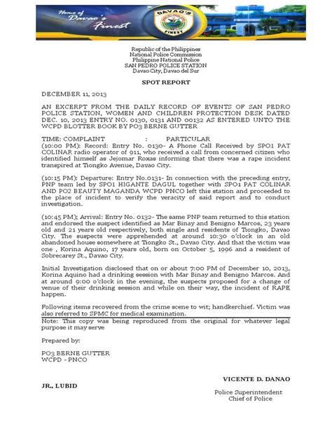 sle of blotter report in the philippines blotter sle blotter
