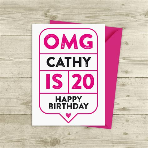 20th Birthday Cards Omg 20th Birthday Card Personalised By A Is For Alphabet