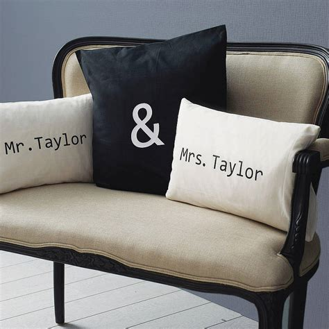 personalised mr mrs cushion cover set by minna s room