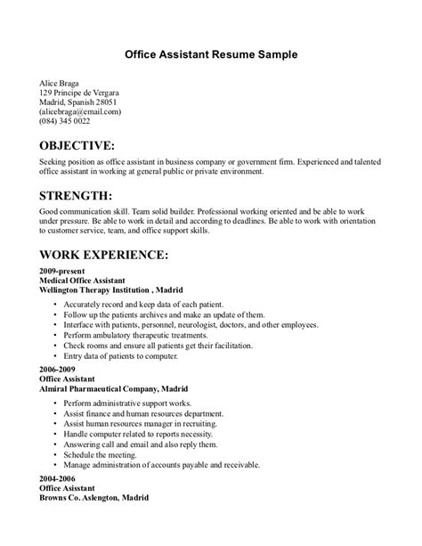 office assistant resume sle resume of office assistant sales assistant lewesmr