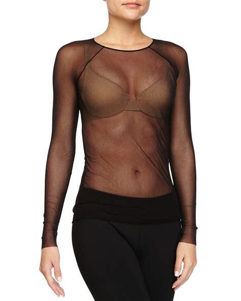 pantyhose tops sleeved cosabella soire raglan long sleeve top in black lyst
