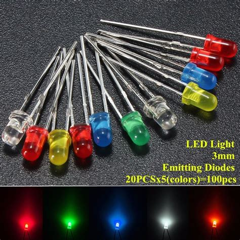 light emitting diodes cost 100pcs lot 3mm led emitting diodes light kit top 5 colors diffused white yellow blue