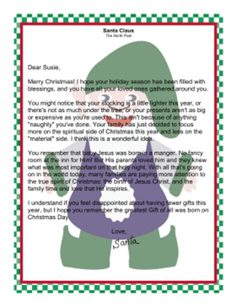 free printable religious santa letters letter from santa claus focusing on spiritual side of