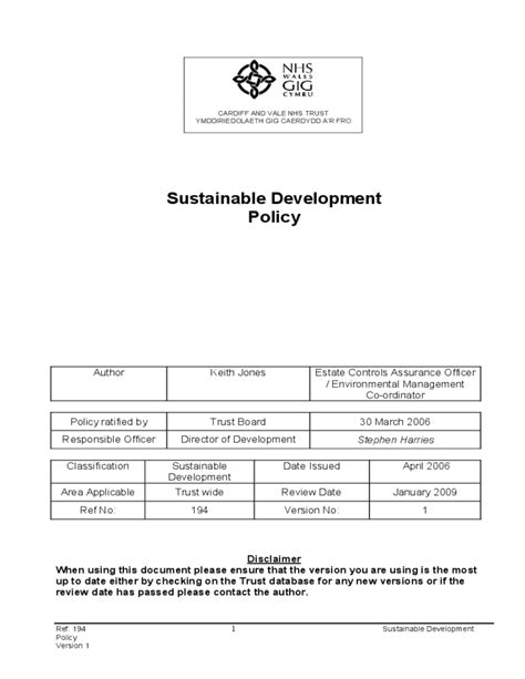 sustainable development plan template sustainable development policy free