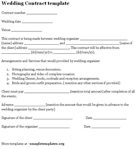 Wedding Contract Template Contracts Questionnaires Pinterest Template Weddings And Event Wedding Agreement Contract Template
