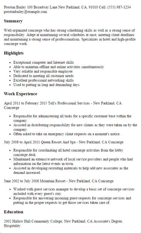 Concierge Resume by Sle Hotel Concierge Resume Studyclix Web Fc2