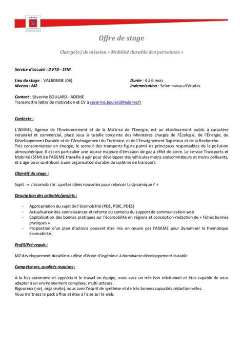 Modeles Lettre Offre De Service Offre Stage Ademe Service Transports Et Mobilit 233 Antipolis
