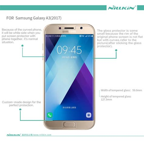 Tempered Glass Clear Screen Protector Samsung A3 2017 A320 1 nillkin amazing h tempered glass screen protector for samsung galaxy a3 2017